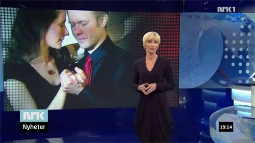 Anne Marit og Magnus danser tango i Dagsrevyen, lørdag 18/12 2010