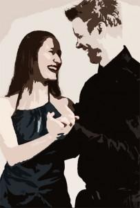 Anne Marit og Magnus ler. Bildet ser nesten tegnet ut.